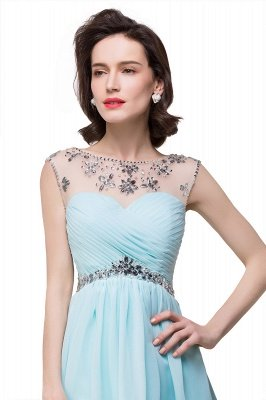 Cheap A-line Jewel Chiffon Party Dress With Crystal in Stock_5
