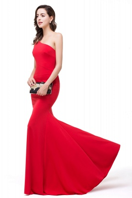 Cheap Red One-Shoulder Floor Length Mermaid Prom Dress in Stock_5
