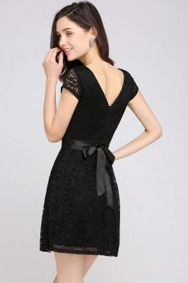 ARMANI | A-line Scoop Black Cheap Lace Homecoming Dress with Sash |_12