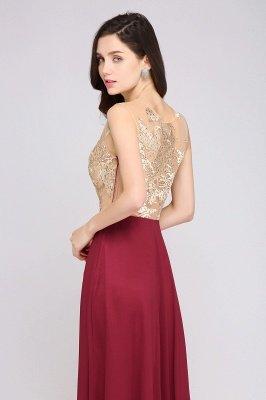 A-line Scoop Chiffon Burgundy Pretty Evening Dresses_6