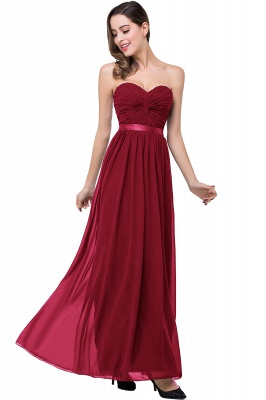 ADELINA | Simple A-line Strapless Chiffon Bridesmaid Dress with Draped_2
