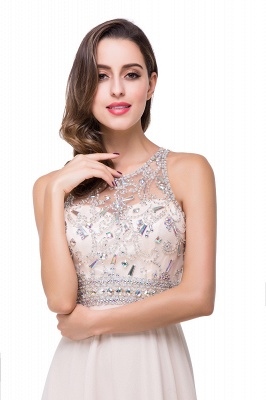 Cheap A-line Jewel Chiffon Prom Dress with Beading in Stock_5