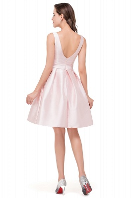 Sleeveless Knee-length Simple Scoop-neck Short with-Belt Prom Gown_5