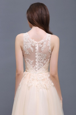 Lace-Appliques Prom Champagne Charming Sleeveless  Scoop-Neckline Party Dress_11