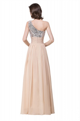 Cheap A-line Floor-length Chiffon Evening Dress with Sequined in Stock_4