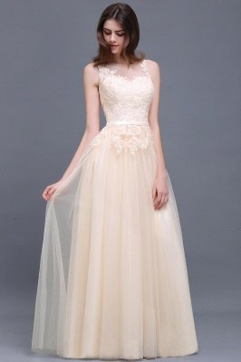 Lace-Appliques Prom Champagne Charming Sleeveless  Scoop-Neckline Party Dress_4