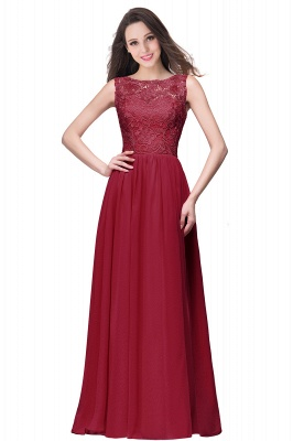 ELYSE | A-line Sleeveless Crew Floor-length Lace Top Chiffon Prom Dresses_3