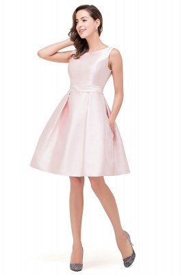 Sleeveless Knee-length Simple Scoop-neck Short with-Belt Prom Gown_4