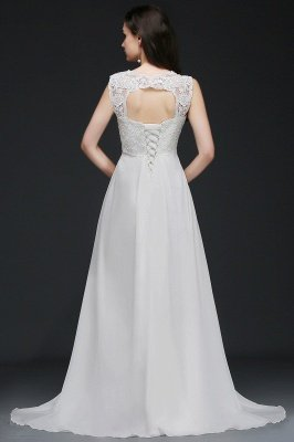 A-Line Sweep Trains Glamorous Wedding Dresses with Lace_3