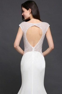 Mermaid Long Sleeve Cap Ivory Chic Sheer Jewel Evening Dresses_7