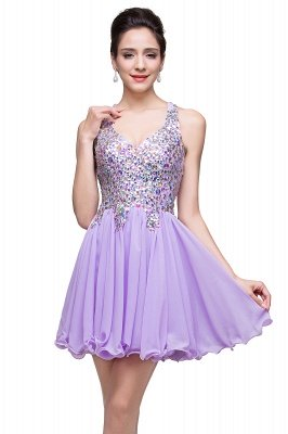 Cheap Chic Crisscross-straps Crystal Beads Ruffle Chiffon Sweetheart Short Prom Dress in Stock_14