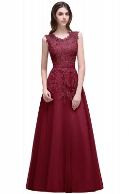 Cheap A-line Floor-length Tulle Prom Dress with Appliques in Stock_3