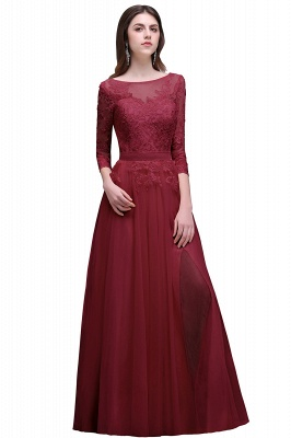 Champagne Scoop-Neckline Three-quarter-Sleeves Lace-Appliques Prom Dress_1
