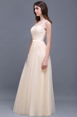 Lace-Appliques Prom Champagne Charming Sleeveless  Scoop-Neckline Party Dress_8