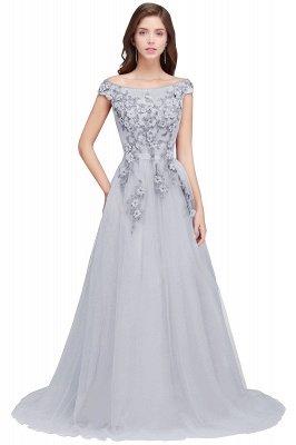 EMBER   A-line Off-shoulder Floor-length Tulle Appliques Prom Dresses_5
