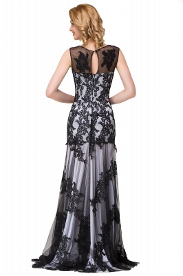 DANIELA | Scoop Neck lace Applique Mermaid Black Prom dresses_14