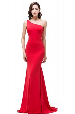 Cheap Red One-Shoulder Floor Length Mermaid Prom Dress in Stock_4