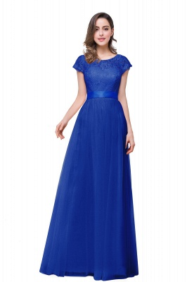 ELLIANA | Elegant Short Sleeves A-line Chiffon Bridesmaid Dresses with Ribbon Bow Sash_3