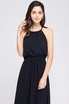 Dark Navy Halter Chiffon Sleeveless Bridesmaid Dresses | Cheap Wedding Guest Dresses_12
