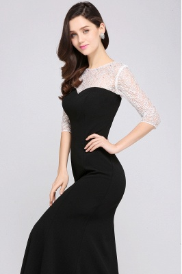 Mermaid Floor Length Black Evening Dresses with Lace_4