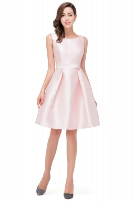 Sleeveless Knee-length Simple Scoop-neck Short with-Belt Prom Gown_1
