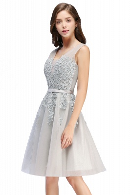 Cheap A-line Knee-length Tulle Prom Dress with Appliques in Stock_8