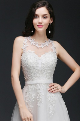 AMARI   A-Line Jewel Floor Length Tulle Wedding Dresses with Lace_5