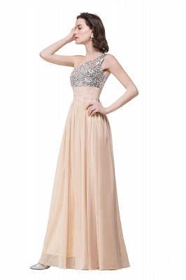 Cheap A-line Floor-length Chiffon Evening Dress with Sequined in Stock_6