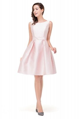 Sleeveless Knee-length Simple Scoop-neck Short with-Belt Prom Gown_3