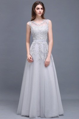 Cheap A-line Floor-length Tulle Prom Dress with Appliques in Stock_8