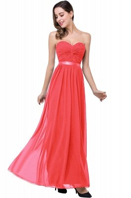 ADELINA | Simple A-line Strapless Chiffon Bridesmaid Dress with Draped_1