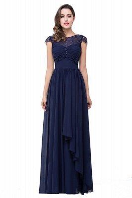 Cheap A-line Ruffles Ribbon Bow Capped Lace Chiffon Bridesmaid Dress in Stock_2