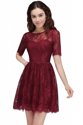 Cheap A-Line Round Neck Short Lace Burgundy Homecoming Dress in Stock_2
