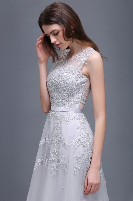 Cheap A-line Floor-length Tulle Prom Dress with Appliques in Stock_15