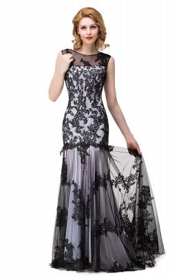 DANIELA | Scoop Neck lace Applique Mermaid Black Prom dresses_8