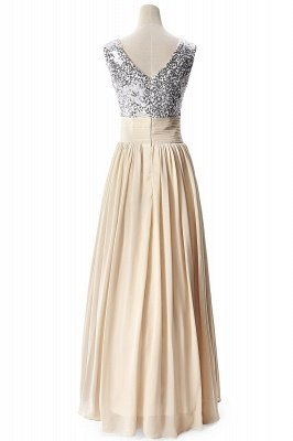 Cheap A-line V-neck Chiffon Party Dress With Sequined in Stock_7