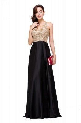EMMALINE   A-Line Floor-Length V-neck Appliques Prom Dresses_11
