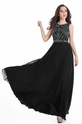 Sheath Jewel Crystals Floor Length Long Chiffon Cheap Prom Dresses_13