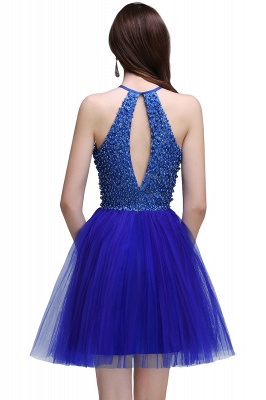 CAITLYN   A-line Halter Neck Short Tulle Royal Blue Homecoming Dresses with Beading_3