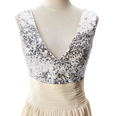 A-line V-neck Chiffon Party Dress With Sequined_8
