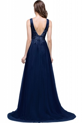 Cheap A-line Court Train Tulle Evening Dress with Appliques in Stock_6