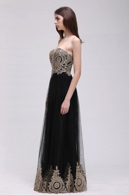 Black Tulle Long A-line Prom Dress with Appliques In Stock_9