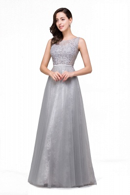 FRANKIE | A-Line Sleeveless Tulle Prom Dresses Long Party Gown