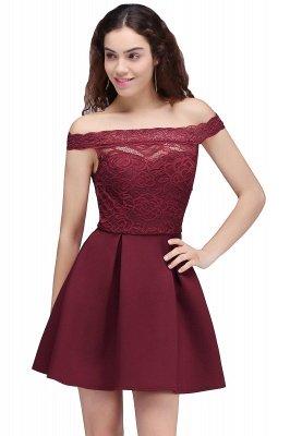 Short Lace Off-the-Shoulder A-Line Burgundy Homecoming Dresses_1