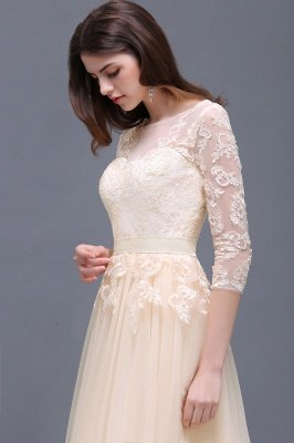 Champagne Scoop-Neckline Three-quarter-Sleeves Lace-Appliques Prom Dress_8