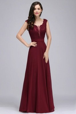 Cheap Elegant Lace A-line Long Burgundy Prom Dress in Stock_6