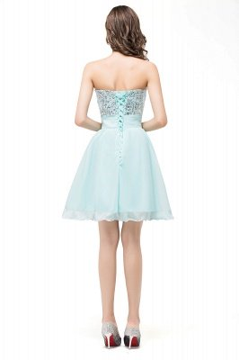 Ruffled Strapless Short Cute  Bridesmaid Sequined Prom Dress_5