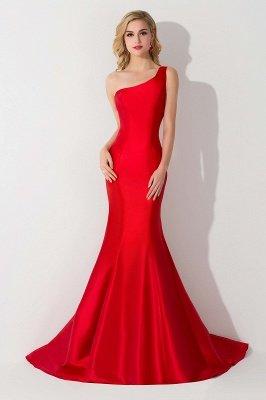 Mermaid One Shoulder Satin Long Affordable Evening Dress_6
