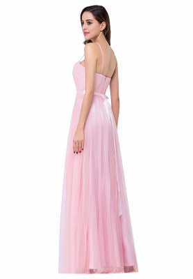 A-line Sweetheart Floor-length Pink Tulle Ruffles Cheap Bridesmaid Dresses_6