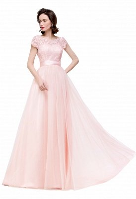 ELLIANA | Elegant Short Sleeves A-line Chiffon Bridesmaid Dresses with Ribbon Bow Sash_14